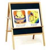 Multi Task Easel in Oak w Blue Hook & Loop Side & Marker Board Side