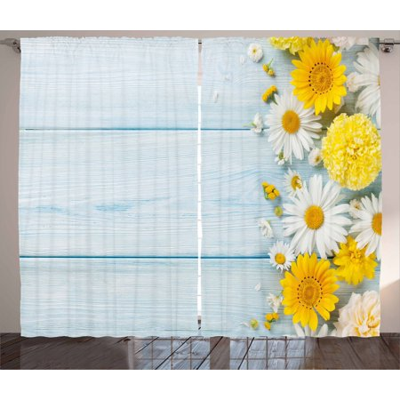 Yellow flower curtains 2 panels set seasonal garden flowers on blue yellow flower curtains 2 panels set seasonal garden flowers on blue wooden planks rustic arrangement mightylinksfo