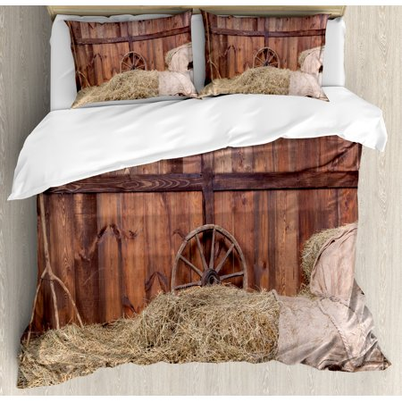 Barn Wood Wagon Wheel King Size Duvet Cover Set  Rural Old Horse Stable Barn Interior Hay And Wood Planks  Decorative 3 Piece Bedding Set With 2 Pillow Shams  Brown Yellow Cream  By Ambesonne