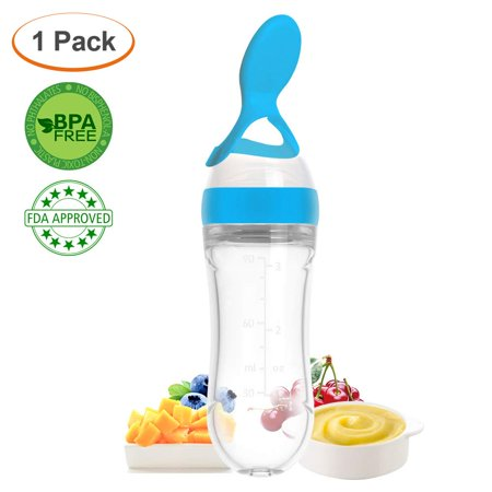 Silicone Squeeze Bottle Spoon - Baby Feeding Cereal, Rice, Juice, Infant Newborn Toddler Baby Food Dispensing Spoon- 90ml