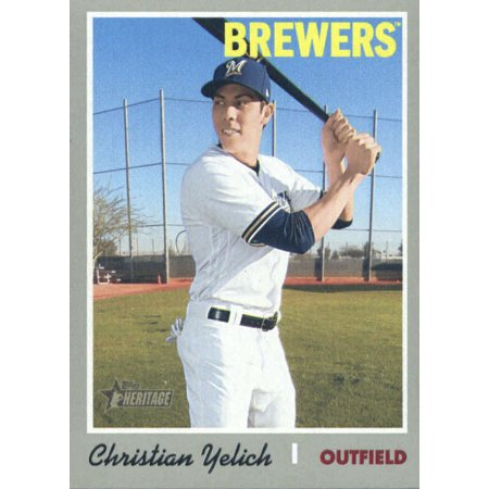 2019 Topps Heritage 410 Christian Yelich Milwaukee Brewers Sp Baseball Card