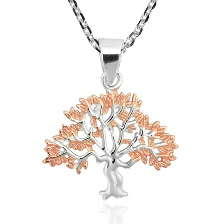 Tree of Life 2-Tone Rose Gold Vermeil Over Sterling Silver Necklace 10mm Rose Gold Vermeil Flower
