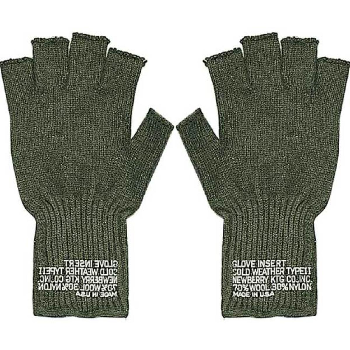 New G.I. Wool Fingerless Glove, Black or Olive Drab