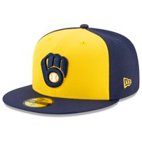 Milwaukee Brewers New Era Alternate 2020 Authentic Collection On-Field 59FIFTY Fitted Hat - Navy/Yellow