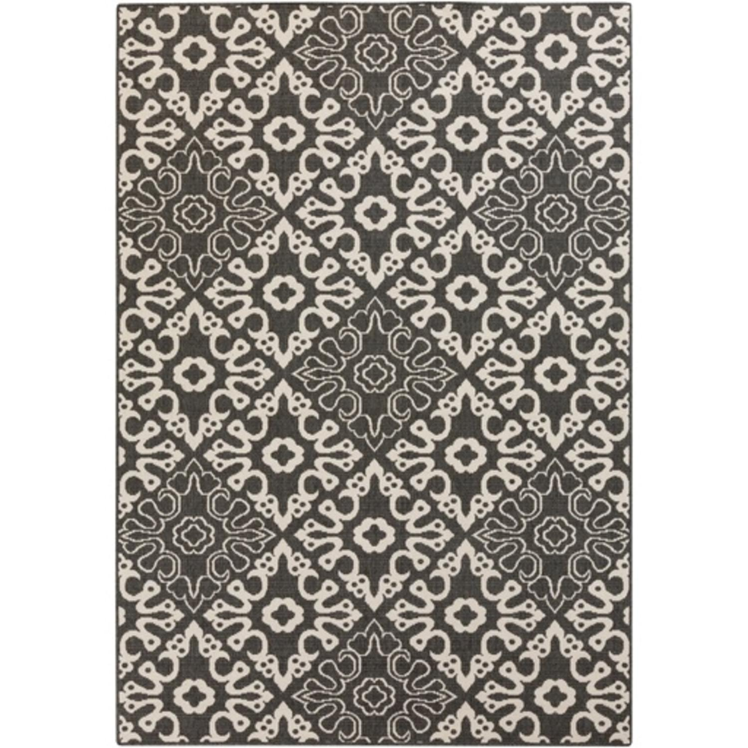 3.5' x 5.5' Majestic Medina Espresso Black and Sandy Beige Shed-Free Area Throw Rug