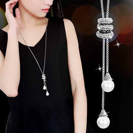 Amazonite Long Necklace (HiCoup Fashion Charm Rhinestone Faux Pearls Pendant Long Necklace Women Sweater)