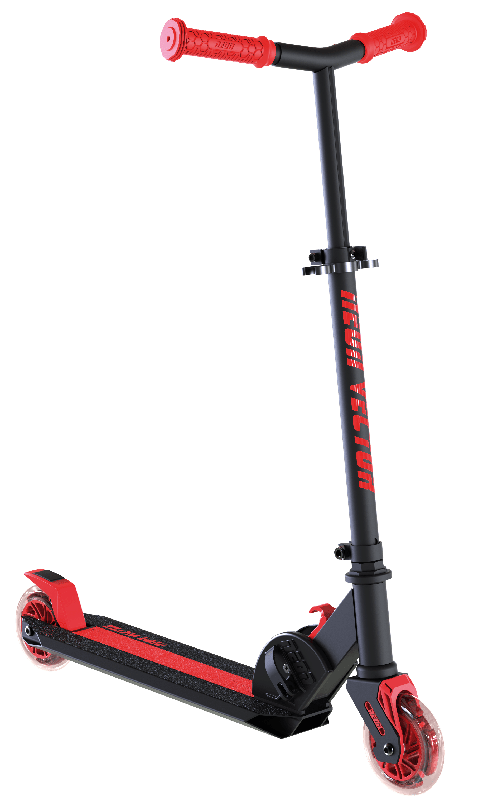 Neon Vybe Kick Scooter Vector Red for Kids, foldable with LED light-up wheels by YVOLUTION