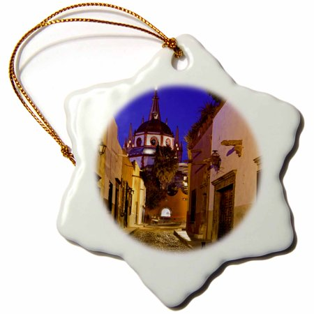 3dRose Mexico, San Miguel de Allende. Street scene with La Parroquia. - Snowflake Ornament, 3-inch