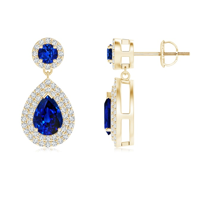 Angara Dangling Two Stone Blue Sapphire Earrings cCN6DaMgRS