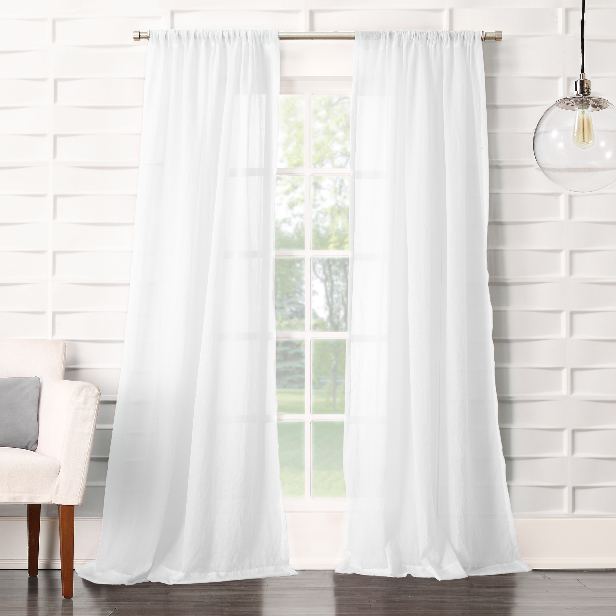 """120""""x50"""" Avril Crushed Textured Semi-Sheer Rod Pocket Curtain Panel White - No. 918"""