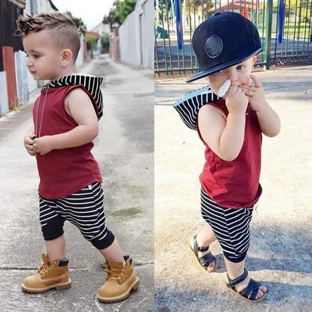Kacakid 2pcs Infant Kids Baby Boy Hooded Vest Tops + Short Pants Set Outfits Clothes - Infant Boy Outfit