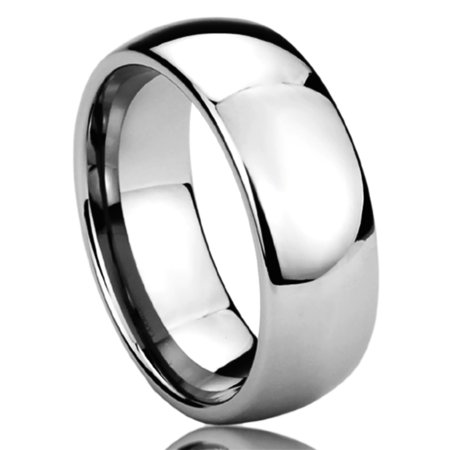 Men Women 8MM Titanium Comfort Fit Wedding Band Ring High Polished Classy Domed Ring (6 to 14) Classy Design Wedding Band Ring
