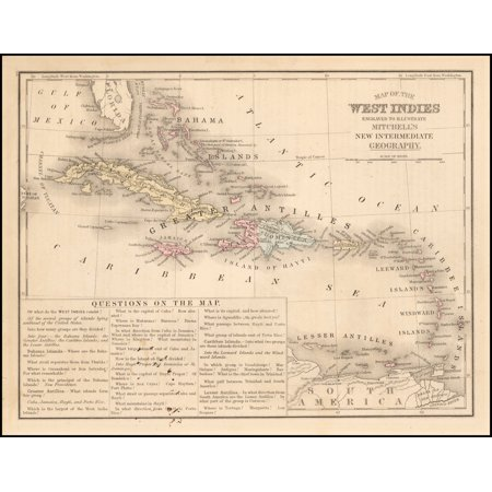 LAMINATED POSTER Map of the West Indies Engraved To Illustrate Mitchell