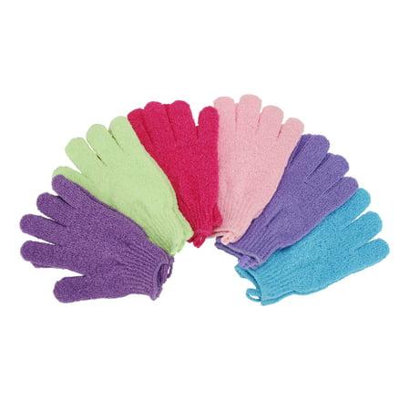 6 Pair Exfoliating Shower Bath Glove Scrubber Shower Dead Skin Cell Remover Body Spa Massage Gloves (Dark Purple + Light Blue + Hot Pink + Green + Light Purple + Pink)