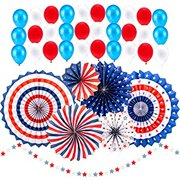 37 Pieces 4th/Fourth of July/Patriotic Decorations Independence Day Paper Fan Balloon Including 30pcs Balloons, 6 Paper Fans with a String of Stars for Party Supplies