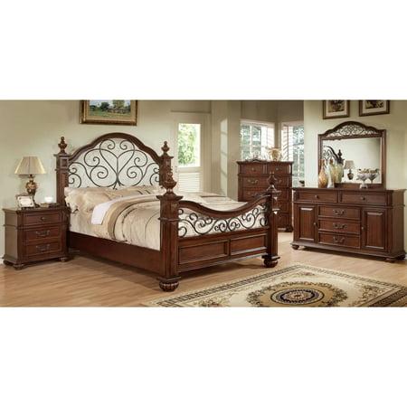 Furniture of America Barath 4-piece Antique Dark Oak Bedroom Set ...