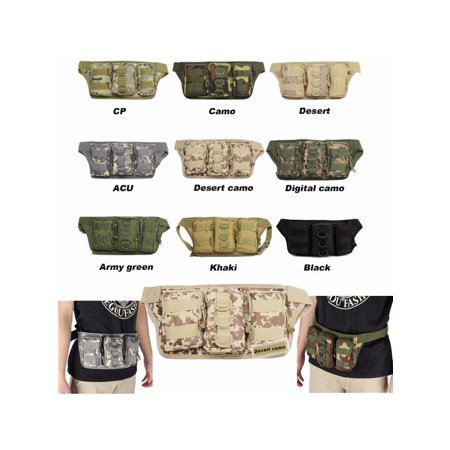Tactical Waist Pack Outdoor Hiking Travel Waist Bag men's waist bag Military Waist Pack Camo Pouch 3 Zipper Pockets