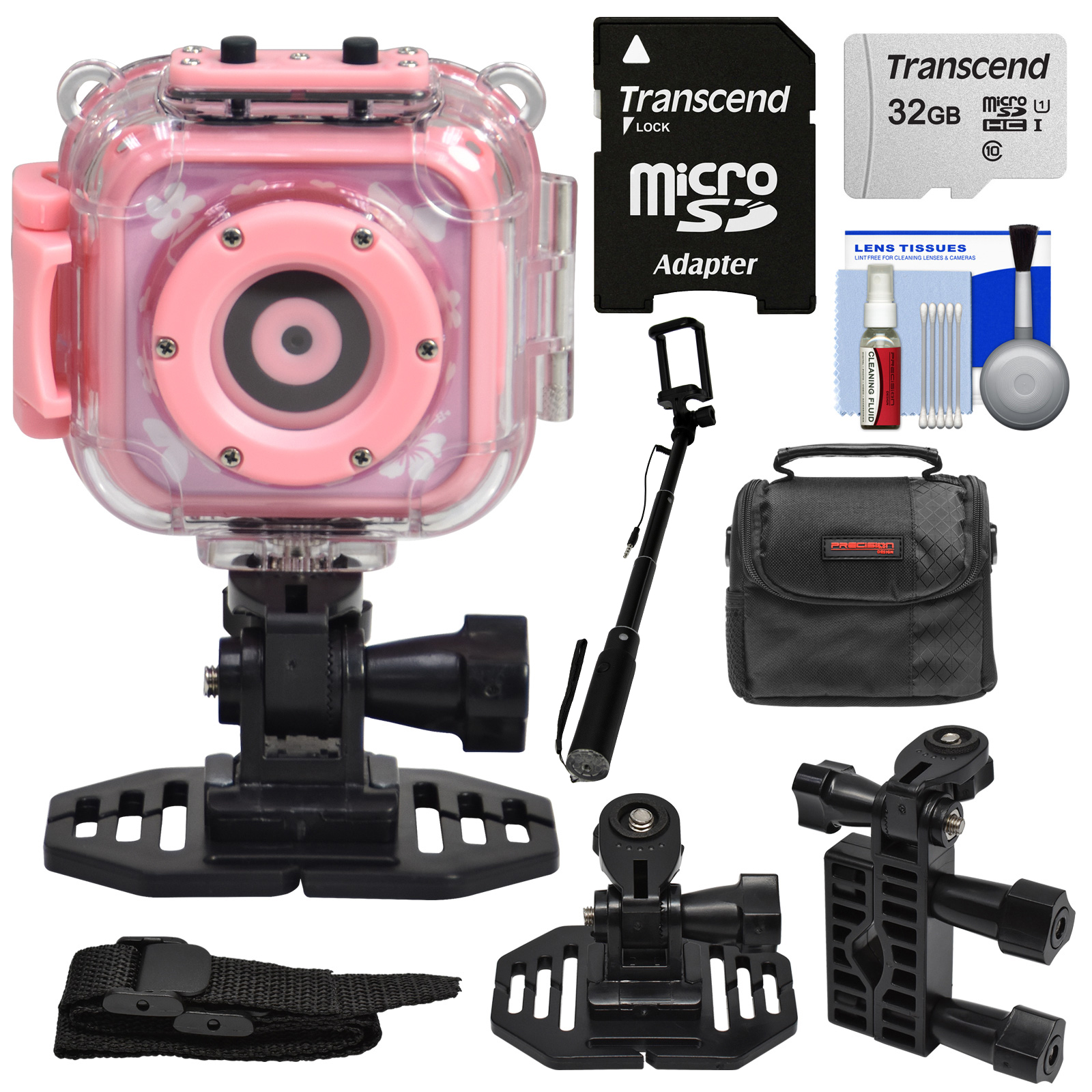 Precision Design K1 Kids HD Action Camera Camcorder (Pink) with Helmet + Handlebar Bike Mounts + 32GB Card + Case + Selfie Stick + Kit