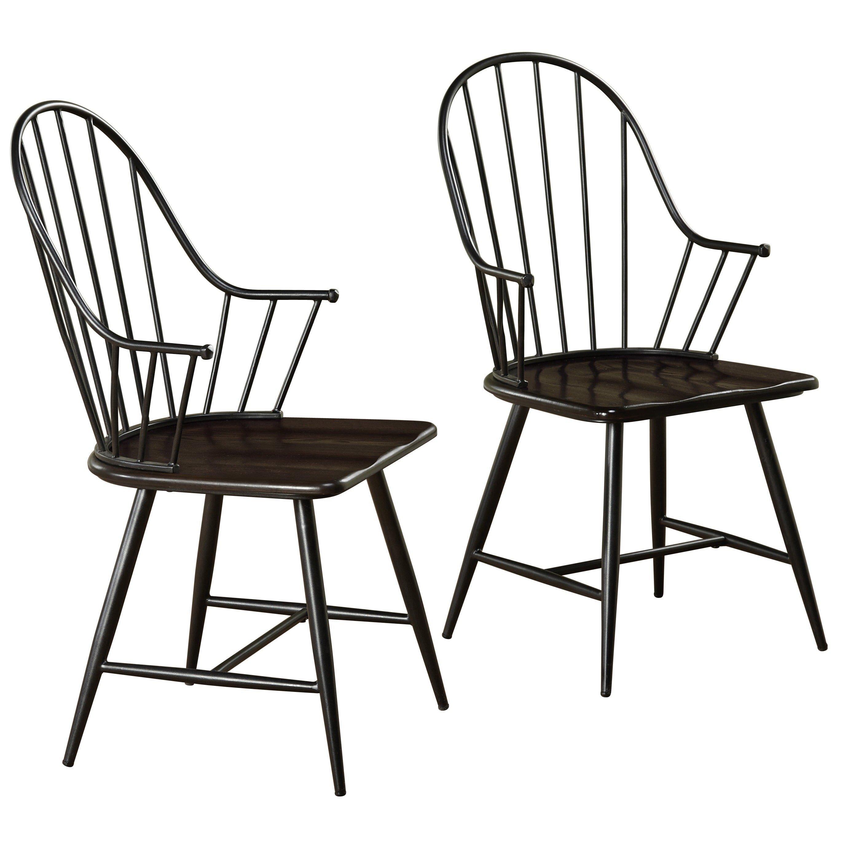 Windsor Mixed Media Arm Chair Set of 2 Black Espresso Walmart