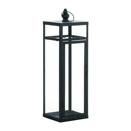 Decorative Candle Lantern, Black Dramatic Geometry Modern Candle Table Lamp, Large - Large Black Lanterns