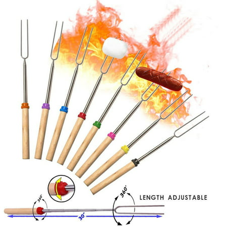 Reactionnx Marshmallow Roasting Sticks, Smores Skewers Telescoping Forks Multicolored 32 inch, Set of 8 Smores Sticks for Fire Pit Hot Dog Forks - Camping, Campfire, Bonfire Kids kit](Smore Kits)