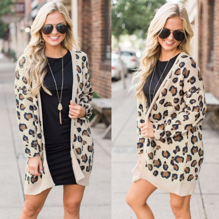 Women Casual Long Sleeve Open Front Leopard Printing Long Cardigan Coat Jacket Outwear With Pockets
