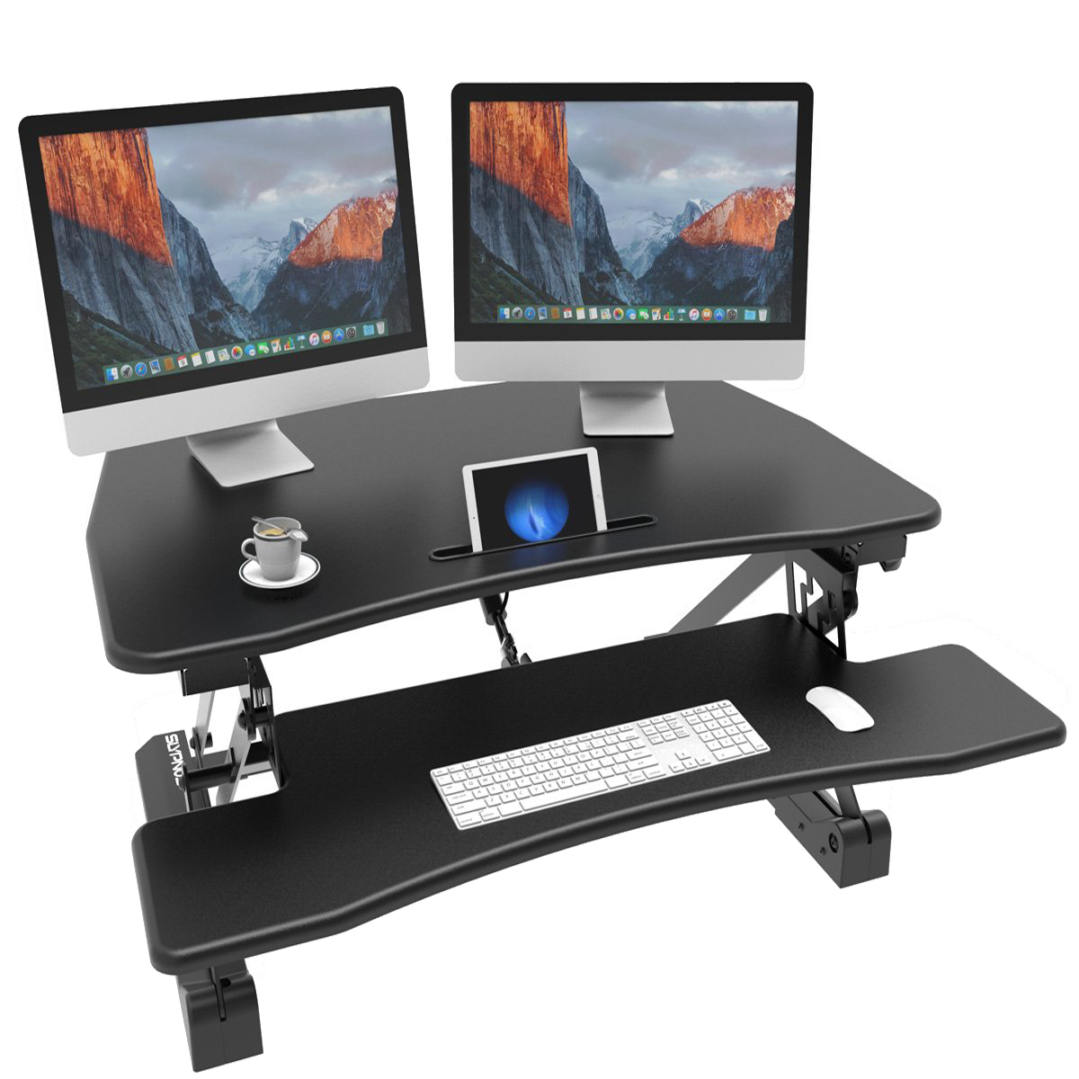 SLYPNOS Standing Desk Converter, 30u0027u0027 Stand Desk Adjustable Riser Computer  Workstation With Removable Keyboard And Mouse Deck For Home And Office, ...