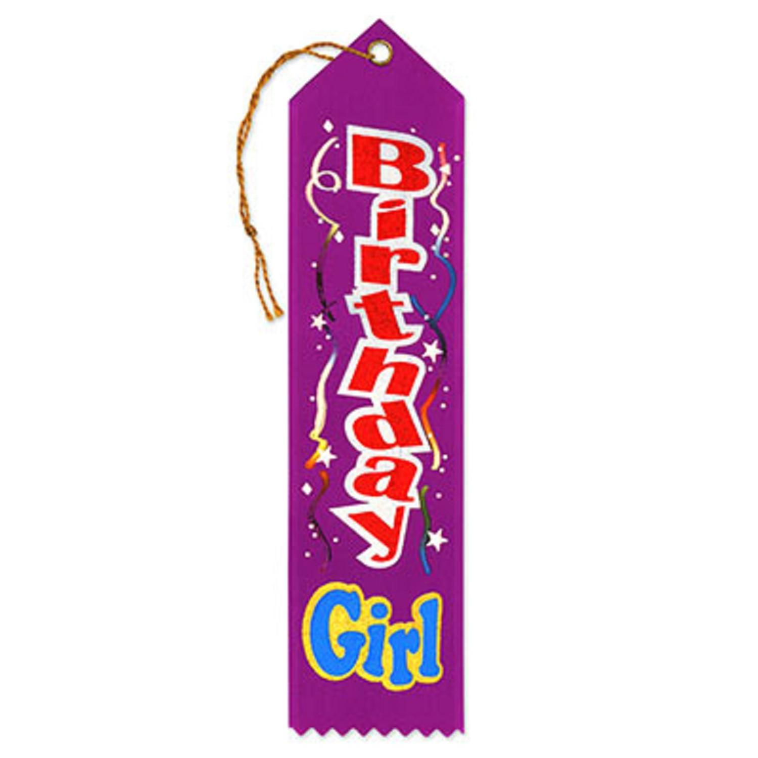 "Pack of 6 Purple ""Birthday Girl Award"" School Award Ribbon Bookmarks 8"""