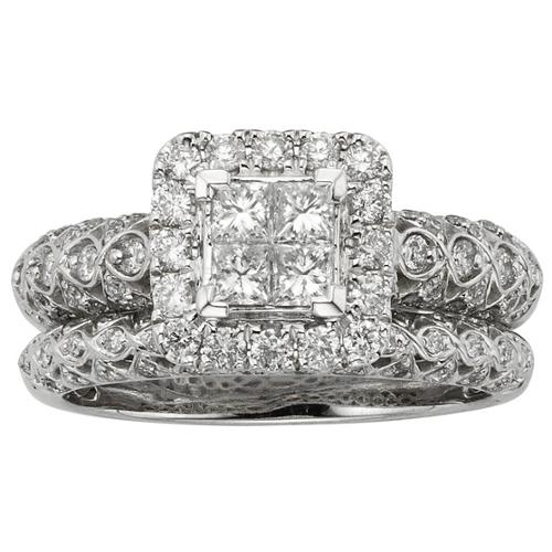 Sofia  14k White Gold 1ct TDW IGL Certified Vintage-inspired Diamond Bridal Set