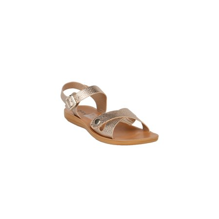 Xehar Women's Ankle Strap Strappy Metallic Open Toe Flat Sandal