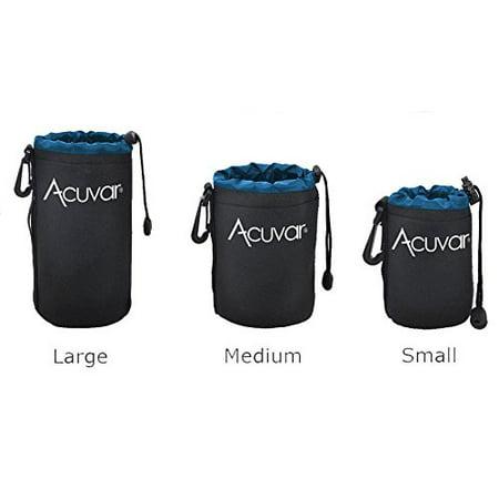 - 3-Pack ACUVAR Soft Neoprene Lens Pouch for DSLR Lenses (Small, Medium and Large) f/ Canon, Nikon, Pentax, Olympus, Sony, Panasonic, Nikkor w/ Drawstring, Water Resistant