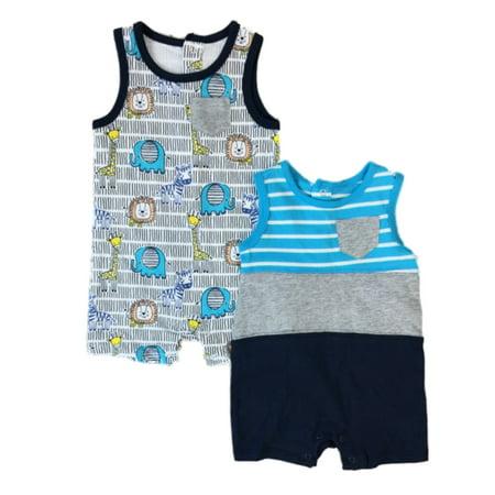 Infant Boys 2pc Bodysuit Set Baby Outfit Giraffe Lion Elephant Romper 0-3m - Lion Outfit
