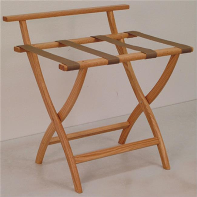 Wooden Mallet LR4-LOTAN WallSaver Luggage Rack in Light Oak with Tan Webbing
