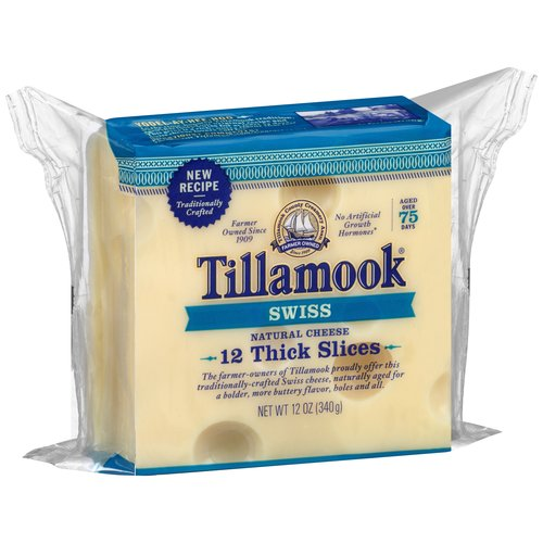 Tillamook Sliced Swiss Cheese, 12 oz
