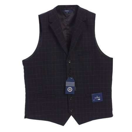 Gioberti Men's 5 Button Tailored Collar Formal Tweed Suit Vest (New 46s Mens Suit)