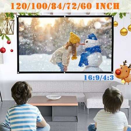 2PCS 84inch Projector Screen 4:3 HD High Contrast 4K Home Cinema Indoor/ Outdoor  Backyard Movie Projection Suitable For Christmas Party - image 1 of 5