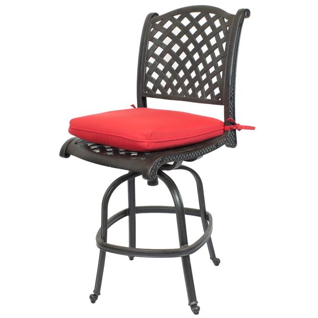 Comfort Care CC03B-JR Cast Aluminum Armless Weave Outdoor Barstool with Sunbrella Jockey Red Cushion - 50.6 x 22.8 x 27 in. - Set of 2