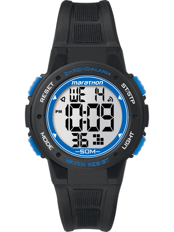 Marathon Unisex Digital Mid-Size Watch, Black Resin Strap