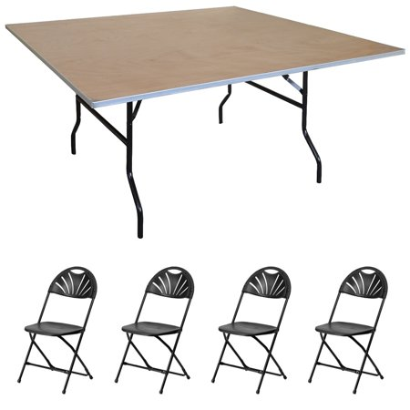 Pogo 30 Square Wood Banquet Folding Table And Chairs Black Chair