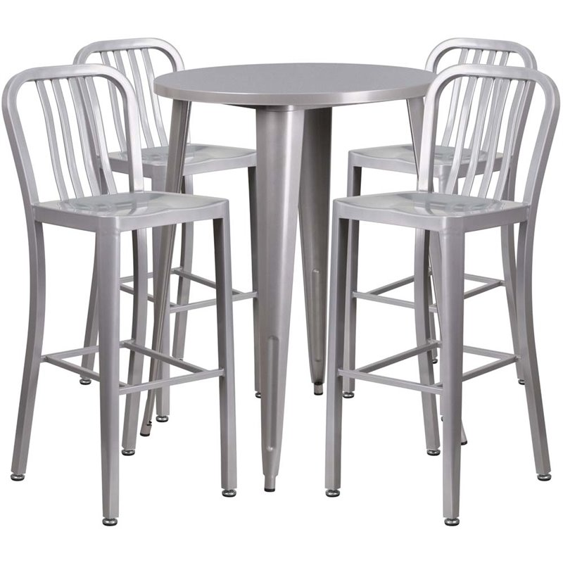 "Bowery Hill 5 Piece 30"" Round Metal Patio Pub Set in Silver"