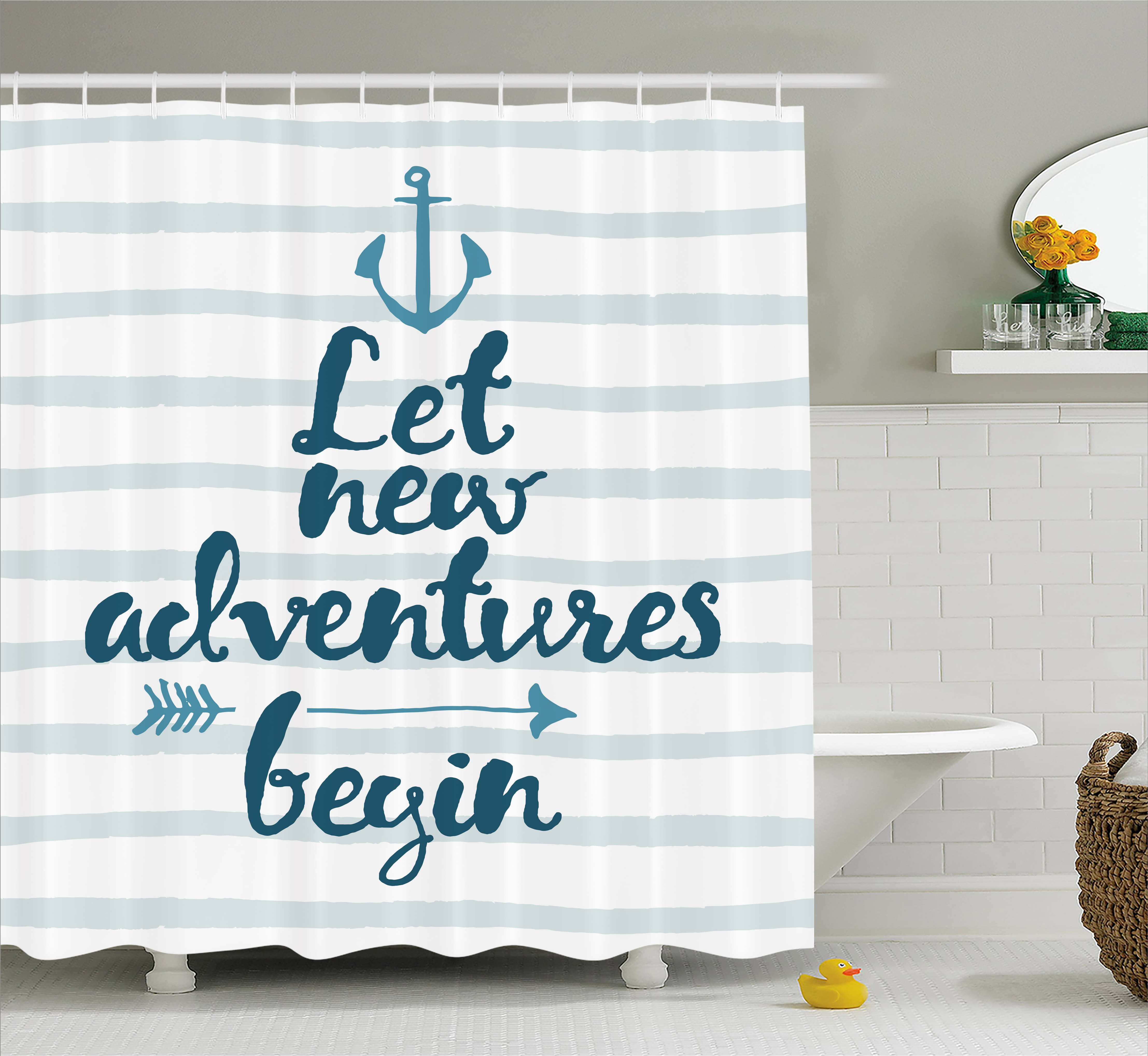 Adventure Shower Curtain, Nautical Stripes Anchor and Arrow Motivational Text Sea Travel Cruise, Fabric Bathroom Set with Hooks, 69W X 70L Inches, Night Blue Pale Blue, by Ambesonne