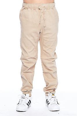Boys Kids Stretch Pull On Basic Twill Solid Drawstring Jogger Pants BBP006-6-Navy