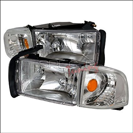 Spec-D Tuning Dodge Ram 1994 1995 1996 1997 1998 1999 2000 2001 Euro Headlights - Chrome