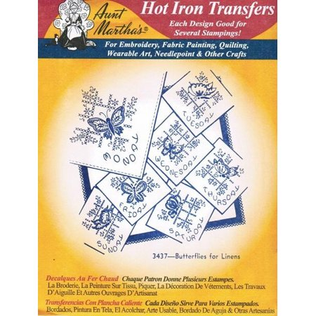 Butterflies for Linens Aunt Martha's Hot Iron Embroidery Transfer