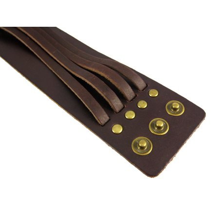 Brown Leather 4 Strip Chrome Studded Wristband - image 2 de 5