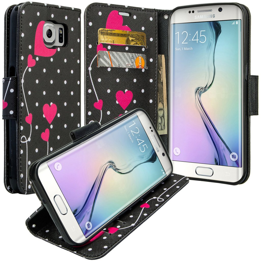 Galaxy S6 Edge Plus Case, Slim Magnetic Flip Kickstand Wrist Strap Leather Wallet Cover - Polka Dots Hearts