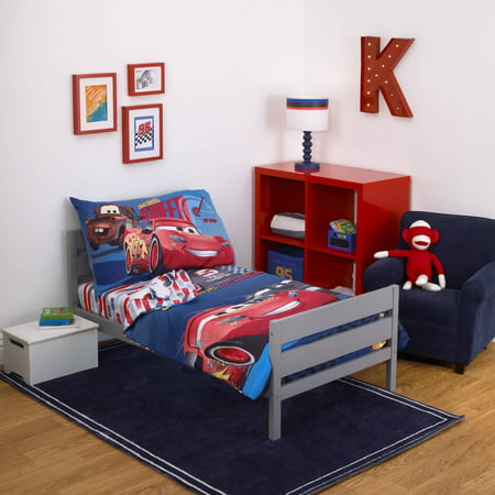 Disney Cars Fast Not Last 4-Piece Toddler Bedding Set (Toddler Bed Sheet Sets)