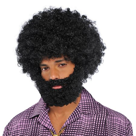Black Afro Beard and Moustache Adult Costume Accessory](Costume With Beards)