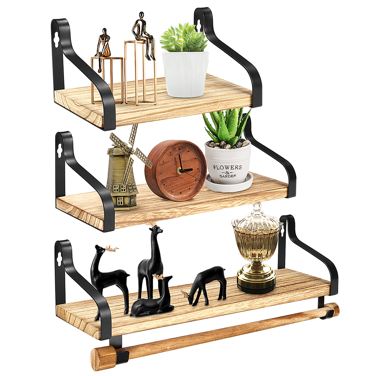 Floating Shelves Wall Mounted Set of 3, Rustic Wood Wall Storage Shelves Spice Rack with Towel Bar, for Bedroom, Living Room, Bathroom, Kitchen, Office - Walmart.com