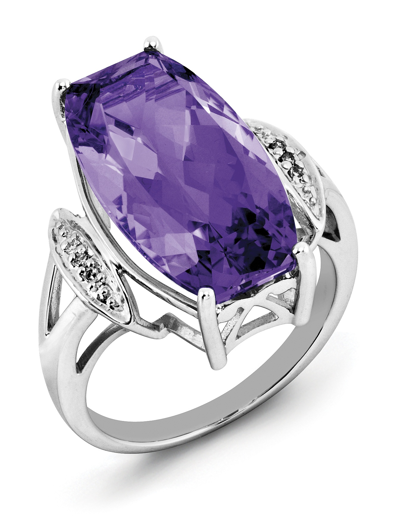Sterling Silver Amethyst & Diamond Ring by